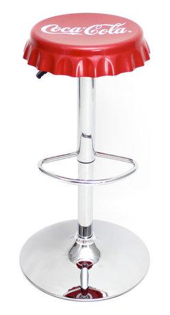 """Lumisource - Coca-Cola Bottle Cap Bar Stool, Red/White - 15"""" Diam. x 24 - 32.5"""" H"""