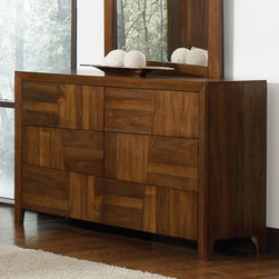 Coaster - Joyce Dresser in Walnut Finish - Special features include felt lined top drawer, full extension glides and english dovetail drawers. The timeless design and unique wood grain of the Grove Bedroom Collection makes this set a simple choice.
