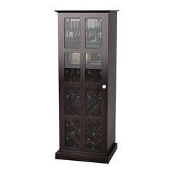 Atlantic Inc - Atlantic Inc Windowpane 24 Wine Cabinet in Espresso - Atlantic Inc - Wine Racks - 94835842 - Extraordinary windowpane cabinet for a wine connoisseur stores a small collection of wine bottles with glasses and amenities. Espresso with black steel rack.