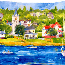 Caroline's Treasures - Harbour Scene With Sailboat  Fabric Standard Pillowcase Moisture Wicking Materia - Standard White on back with artwork on the front of the pillowcase, 20.5 in w x 30 in. Nice jersy knit Moisture wicking material that wicks the moisture away from the head like a sports fabric (similar to Nike or Under Armour), breathable performance fabric makes for a nice sleeping experience and shows quality.  Wash cold and dry medium.  Fabric even gets softer as you wash it.  No ironing required.