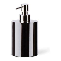WS Bath Collections - Saon 44018 Liquid Soap Dispenser in Painted Aluminum, Stainless Steel - Saon by WS Bath Collections, Liquid Soap Dispenser in Painted Aluminum, Available in White, Red, Brown, Orange, Pink, Dark Grey, Blue or Stainless Steel