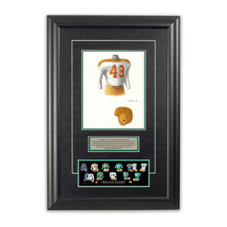 """Heritage Sports Art - Original art of the NFL 1946 Green Bay Packers uniform - This beautifully framed piece features an original piece of watercolor artwork glass-framed in an attractive two inch wide black resin frame with a double mat. The outer dimensions of the framed piece are approximately 17"""" wide x 24.5"""" high, although the exact size will vary according to the size of the original piece of art. At the core of the framed piece is the actual piece of original artwork as painted by the artist on textured 100% rag, water-marked watercolor paper. In many cases the original artwork has handwritten notes in pencil from the artist. Simply put, this is beautiful, one-of-a-kind artwork. The outer mat is a rich textured black acid-free mat with a decorative inset white v-groove, while the inner mat is a complimentary colored acid-free mat reflecting one of the team's primary colors. The image of this framed piece shows the mat color that we use (Hunter Green). Beneath the artwork is a silver plate with black text describing the original artwork. The text for this piece will read: This original, one-of-a-kind watercolor painting of the 1946 Green Bay Packers uniform is the original artwork that was used in the creation of this Green Bay Packers uniform evolution print and tens of thousands of other Green Bay Packers products that have been sold across North America. This original piece of art was painted by artist Tino Paolini for Maple Leaf Productions Ltd. Beneath the silver plate is a 3"""" x 9"""" reproduction of a well known, best-selling print that celebrates the history of the team. The print beautifully illustrates the chronological evolution of the team's uniform and shows you how the original art was used in the creation of this print. If you look closely, you will see that the print features the actual artwork being offered for sale. The piece is framed with an extremely high quality framing glass. We have used this glass style for many years with excellent result"""