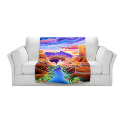 DiaNoche Designs - Fleece Throw Blanket by Harriett Peck Taylor - Canyon Sunrise - Original Artwork printed to an ultra soft fleece Blanket for a unique look and feel of your living room couch or bedroom space.  DiaNoche Designs uses images from artists all over the world to create Illuminated art, Canvas Art, Sheets, Pillows, Duvets, Blankets and many other items that you can print to.  Every purchase supports an artist!