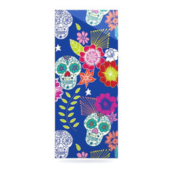 "Kess InHouse - Anneline Sophia ""Day of the Dead"" Blue Aztec Metal Luxe Panel (9"" x 21"") - Our luxe KESS InHouse art panels are the perfect addition to your super fab living room, dining room, bedroom or bathroom. Heck, we have customers that have them in their sunrooms. These items are the art equivalent to flat screens. They offer a bright splash of color in a sleek and elegant way. They are available in square and rectangle sizes. Comes with a shadow mount for an even sleeker finish. By infusing the dyes of the artwork directly onto specially coated metal panels, the artwork is extremely durable and will showcase the exceptional detail. Use them together to make large art installations or showcase them individually. Our KESS InHouse Art Panels will jump off your walls. We can't wait to see what our interior design savvy clients will come up with next."