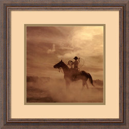 Amanti Art - On The Range II Framed Print by Adam Jahiel - If you're fascinated by the Wild West, this photograph, taken in the Great Basin by Adam Jahiel, captures its rugged side. Custom-framed in a distressed wood frame with neutral mat colors that complement the artwork, this print comes with a hanging wire for easy installation in any area of your home. Made in the USA.