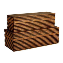 Arteriors Home - Arteriors Home Trinity Wooden Boxes, Set/2 - Arteriors Home 2222 - Arteriors Home 2222 - Set of 2 handmade wood boxes offer storage and add a linear and artistic element to a bathroom counter, console, or nightstand.