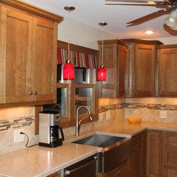 Kitchen cabinetry using Q-sawn white oak -