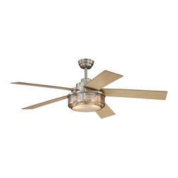 AireRyder F0002 Chesapeake 52 in. Indoor Ceiling Fan - Satin Nickel - The AireRyder F0002 Chesapeake 52 in. Indoor Ceiling Fan - Satin Nickel offers a cooling breeze and a transitional style to any room. This 5-blade fan comes complete with an included light kit and remote control. Its beautiful acrylic shade features a seashell-style design with a satin nickel-finished housing and mount. Requires two 60W candelabra bulbs (not included).About Vaxcel LightingFor over 20 years, Vaxcel International has been a premier supplier of residential lighting products. Based in Carol Steam, Ill., Vaxcel's product line is composed of more than 2,000 items, ranging from builder-ready fixtures and ceiling fans to designer chandeliers and lamps, in the latest styles and finishes. They're known in the industry for offering a full selection of products at competitive prices.
