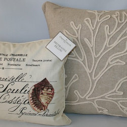 Channel Islands Coastal Accent Pillows - Complement your Channel Island bedding or any island retreat with this charming coastal accent pillow set.  Included are two coordinating island style accent pillows - a vintage postcard accent pillow and a natural, open-weave linen coral branch pillow.  Both pillows have designer quality features such as feather inserts, hidden zipper closures, decorative cording and high quality fabrics and will add authentic, island style charm to any decor.