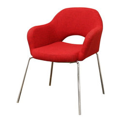 Baxton Studio - Baxton Studio Mid Century Modern Red Twill Executive Arm Chair - Evocative of the styles and principles of mid-century design, the Executive Arm Chair fits well with both other mid-century styles and the ultra contemporary designs of today. This versatile dining chair or accent chair is made with sturdy steel legs, black non-marking feet, foam cushioning, and multi-hued red twill upholstery.   A matching side chair's available (sold separately).  Some assembly is required.