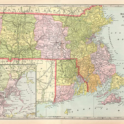 Stomping Grounds - Map Of Massachusetts Rhode Island - Reproduction from Cram's Modern Atlas. Published in 1901.