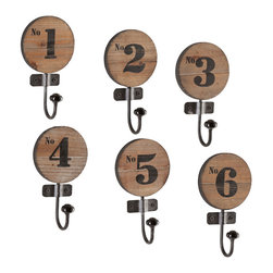 Handmade Integer Wall Hooks - Set of 6 - Whether you hang these hooks by the front door, in the bathroom, or beside the stove, this set of numbered hooks look great on any wall. Made by hand from gorgeous fir wood and durable iron, they hold onto your lightweight items in rustic-industrial style.