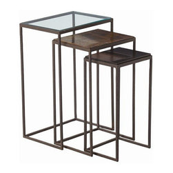 Arteriors Home - Arteriors Home Knight Large Hammered Iron Nesting Tables, Set/3 - Arteriors Home - Arteriors Home 6524 - This set of three nesting tables from Arteriors brings a variety of textures and style options to your interior. Each table has a hammered iron, rectangular frame with delicate, narrow legs. Three different tops include: glass, oxidized brass and black marble. Tables look wonderful nested inside each other or use them separately for a different look. It's three stylish pieces for the price of one.Three Tops: Glass/Oxidized Brass/Black Marble