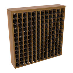 Wine Racks America - 144 Bottle Deluxe Wine Rack in Premium Redwood, Oak Stain + Satin Finish - Store 12 full cases in this wine rack furniture style storage. This wood wine rack is designed to look like a freestanding wine cabinet. Solid top and side enclosures promote the cool and dark storage area necessary for aging your wine properly.