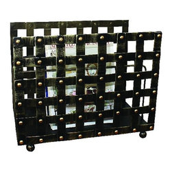 "Woven Nail Head Design Magazine Rack - Faux Brass Woven Nail Head Design Iron Magazine Rack Hand constructed by master craftsmen of iron. Hand-finished in a multi-step process 17"" wide/19"" deep/13.25"" tall Weight: 10 pounds 5 ounces ."