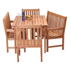 International Home Miami - Amazonia BT Milano Bench 5-Piece Patio Dining Set - Great Quality, elegant design patio set, made of solid eucalyptus wood. FSC (Forest Stewardship Council) certified. Enjoy your patio with style with these great sets from our Amazonia outdoor collection