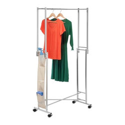 Steel Double Folding Square Tube Garment Rack - Honey-Can-Do GAR-01433 Double Folding Garment Rack. The most portable of garment racks, this double folding rack compresses to a 4.25 inches flat for easy storage when not in use. Great for taking with you as it fits nicely in vehicles. Capable of withstanding 50lbs. of weight for all your hanging needs. Set on smooth rolling casters, this steel-frame garment rack easily moves from room to room, then locks in place for stability. The handy pocket organizer hangs neatly on the side to keep accessories, shoes, belts, and other items easily accessible. Some assembly required.