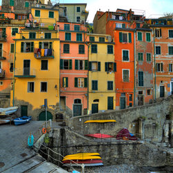 Murals Your Way - Wall Of Colorful Buildings, Riomagiorre Wall Art - Photographed by Richard  Desmarais, Wall Of Colorful Buildings, Riomagiorre wall mural from Murals Your Way will add a distinctive touch to any