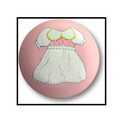Dress-up Drawer Knob - Add a touch of femininity and whimsy to a baby girl's dresser with these drawer pulls. These sweet vintage-inspired dress prints point your little one in the right direction of her clothes, and pull together her room with detailed finishing touches.