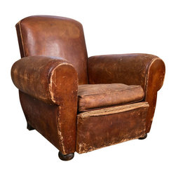 Consigned, French Art Deco Leather Club Chair - Very comfortable 1920s-1930s French leather club chair. Classic European Art Deco styling. Although there is much wear on this club chair, the frame is solid and the over-all feel is excellent.