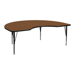 Flash Furniture - Flash Furniture 48 x 96 Kidney Shaped Activity Table with 1.25 Inch Laminate Top - Flash Furniture's Pre-School XU-A4896-KIDNY-OAK-H-P-GG warp resistant high pressure laminate Kidney activity table features a 1.25'' top and a high pressure laminate work surface. This Kidney Shaped high Pressure Laminate activity table provides an extremely durable (no mar, no burn, no stain) work surface that is versatile enough for everything from computers to projects or group lessons. Sturdy steel Legs adjust from 16.25'' - 25.25'' high and have a brilliant chrome finish. The 1.25'' thick particle board top also incorporates a protective underside backing sheet to prevent moisture absorption and warping. T-mold edge banding provides a durable and attractive edging enhancement that is certain to withstand the rigors of any classroom environment. Glides prevent wobbling and will keep your work surface level. This model is featured in a beautiful Oak finish that will enhance the beauty of any school setting. [XU-A4896-KIDNY-OAK-H-P-GG]