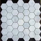 "Bianco Carrera White Marble Hexagon Mosaic Tile Honed - Premium Grade Bianco Carrara White 2"" honed marble mosaic on 1 sq. ft. sturdy mesh sheet-"