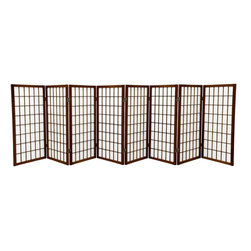 Oriental Furniture - 3 ft. Tall Window Pane Shoji Screen - Walnut - 8 Panels - A traditional Japanese design adapted for the modern home, this three foot tall Window Pane Shoji Screen provides privacy without blocking light. Lightweight and portable, the translucent rice paper is fiber-reinforced for extra durability and the frame is built from Scandinavian Spruce. The elegant design complements any style of interior decor and is a great way to partition a room, hide the space beneath a table or desk, or add a cosmopolitan accent to a room