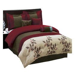 Bed Linens - Pasadena 7-Piece Comforter Set, Queen-7PC-Set, Burgundy - 7 Piece Luxury Bedding Set