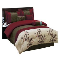 Bed Linens - Pasadena 7-Piece Comforter Set, Queen-7PC-Set, Burgundy - 7 Piece Luxury Bedding Set