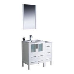 "Fresca - Fresca Torino 36"" White Modern Bathroom Vanity w/ Side Cabinet & Integrated Sink - Fresca Torino 36"" White Modern Bathroom Vanity w/ Side Cabinet & Integrated Sink"
