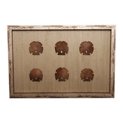 White Sand Dollars on Natural Shadowbox - Within a frame in an antiqued metal hue, discolored by the deep brown of seaside rust, a beautiful arrangement of six sand dollars comes to life against a variegated background.  The collected five-notched shells and the backing are perfectly contrasted for a dynamic, yet peaceable, composition.  This rectangular wall piece is naturally one-of-a-kind, conferring exquisite oceanic beauty to your home through an expertly mounted shadowbox.