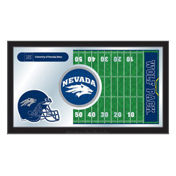 "Holland Bar Stool - Holland Bar Stool Nevada Football Mirror - Nevada Football Mirror belongs to College Collection by Holland Bar Stool The perfect way to show your school pride, our Football Mirror displays your school's symbols with a style that fits any setting.  With it's simple but elegant design, colors burst through the 1/8"" thick glass and are highlighted by the mirrored accents.  Framed with a black, 1 1/4 wrapped wood frame with saw tooth hangers, this 15""(H) x 26""(W) mirror is ideal for your office, garage, or any room of the house.  Whether purchasing as a gift for a recent grad, sports superfan, or for yourself, you can take satisfaction knowing you're buying a mirror that is proudly Made in the USA by Holland Bar Stool Company, Holland, MI.   Mirror (1)"