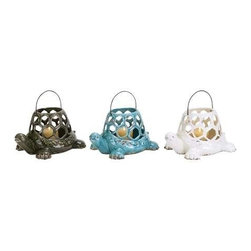 """Benzara - Durable and Long Lasting Ceramic Turtle Lantern 3 Assortment - Durable and Long Lasting Ceramic Turtle Lantern 3 Assortment. Want to add a more distinctive style to your home setting in? If you do, this ceramic turtle lantern makes a fine choice of accessory. It comes in the following dimensions 12''W x 9""""D x 7 """"H. 12''W x 9""""D x 7""""H. 12''W x 9""""D x 7""""H. Some assembly may be required."""