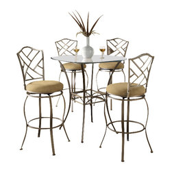 "Hillsdale Furniture - Hillsdale Brookside 3-Piece Pub Table Set with Hanover Barstool - Hillsdale Furniture's versatile bistro collection features the panache of a pub with all comfort and convenience of full scale dining. This round bar height table is topped with a stunning 36"" glass top and can be sold with your choice of four barstools. The Marin barstool, upholstered in the always popular beige microfiber, and finished in a flecked brown, features a traditional slat back accented by a fossil stone filled diamond motif. Our Hanover barstool features a delicate lattice backed design, and boasts the same finish and fabric as the Marin. Last, our always in demand Brookside barstools are a lovely compliment to the this table as well. This ensemble offers so many choices, and is lovely as a complete collection. No need for a complete dining group, these barstools are all elegant alone as well, and would make fine additions to your kitchen or bar area."