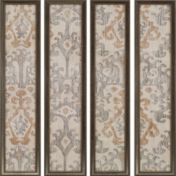 Paragon Decor - Ikat Set of 4 Artwork - Linen ikat pattern Giclee is hand textured and features a antique silver finish frame.