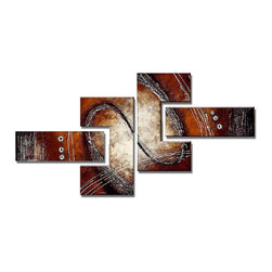 DESIGN ART - 'Abstract Red/Brown Painting' 4-piece Hand Painted Canvas Art - Artist: Unknown Title: Abstract Red/Brown Painting Product type: Hand Painted, Oil on Canvas