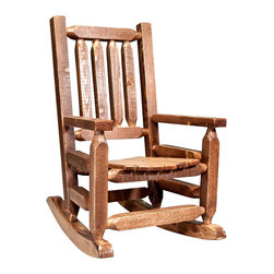 Montana Woodworks - Children Rocker in Stained and Lacquered Fini - Full sized rockers. High quality materials. Superior, mortise and tenon joinery. Hand crafted. Timbers and trim pieces. Sawn square for rustic timber frame design. Heirloom quality. Durable build, fit and finish. Made from American solid grown wood and lodge pole pine. Made in USA. No assembly required. Seat height: 12 in.. Armrest: 14 in.. Overall: 20 in. W x 26 in. D x 31 in. H (18 lbs.). Use and Care Instructions. WarrantyThis smaller, child's size version of our extremely popular log rocking chair, is just the right size for your children, grandchildren or younger friends and family. This rocker will be in the family for generations to come. Constructed with the same careful attention to detail