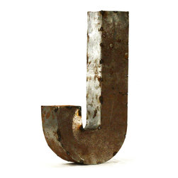 "Kathy Kuo Home - Industrial Rustic Metal Small Letter J 18""H - Create a verbal statement!  Made from salvaged metal and distressed by hand for an imperfect, time-worn look."