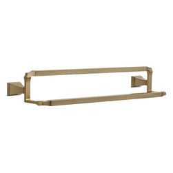 """Delta - Delta 75125-CZ Dryden Double Towel Bar - Delta 75125-CZ Dryden Double Towel Bar. Dryden 24"""" Champagne Bronze Double Towel Bar. If you are looking to eliminate the clutter from your bathroom, and add something clean, with geometric lines in your home, then this Art Deco wall mounted Double Towel Bar is perfect. Included is the hardware needed to mount it, and a Lifetime finish warranty"""