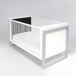 Campaign II Crib - Color in a gender-neutral nursery can be picked up in furnishings. This modern crib in white features gray, squared legs. It's perfect for either boys or girls.