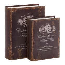 None - French Styled Antiqued Wood Book Box Set - This set carries an distressed wood book design in French style. The book box will add a special antique charm on your table.