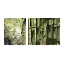 Ready2HangArt - Alexis Bueno 'Bamboo Abstract' 2-piece Oversized Canvas Wall Art - This abstract canvas art set is the perfect addition to any contemporary space. It is fully finished, arriving ready to hang on the wall of your choice.