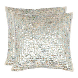 Safavieh Home Furniture - Fiona 18-Inch Silver Decorative Pillows Set of 2 - -With a fresh contemporary eye-catching pattern this decorative pillow is a lovely addition to any decor. This throw pillow features a modern print design with a hand-woven cotton and linen cover. This throw pillow cover features silver and ivory.  - Please note this item has a 30-day manufacturer's limited warranty that covers product defects. Inspect your purchase upon delivery and notify us immediately with any concerns. Safavieh Home Furniture - PIL852A-1818-SET2