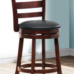 Edmond Ladder Back Swivel Counter Stool - A stylish counterpart for your countertop, the Edmond Ladder Back Swivel Counter Stool takes your kitchen from mundane to marvelous. The sturdy rubberwood frame is finished in a versatile dark cherry, while the ladder-style back and curved legs add a fashionable yet down-to-earth aesthetic. The seat is upholstered in comfy black bi-cast leather, and the seat's swivel function puts a fresh spin on things. Some simple assembly is required. Please note: This item is not intended for commercial use. Warranty applies to residential use only.About Homelegance, Inc.Homelegance takes pride in offering only the highest quality home furnishings that incorporate innovative design at the best value. From dining sets to mirrors, sofas, and accessories, Homelegance strives to provide customers with a wide breadth and depth of selection as well as the most complete and satisfying service available for their category. Homelegance distribution centers are conveniently located throughout the United States and Canada.