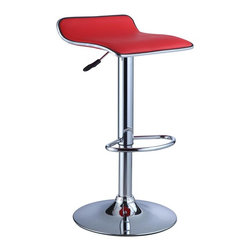 Adarn Inc - Red Adjustable Faux Leather Seat Backless Swivel Bar Stools Barstools - The Thin Seat Bar Stool is a unique, contemporary addition to your home. The backless curved faux leather seat, round sturdy footrest and height adjustable lever provides both style and function. An eye-catching, versatile red and chrome easily complements your home's existing decor. Swivel seat adjusts with a gas-lift mechanism. 300 pound weight capacity. BIFMA 5.1 and EN1335 Standard testing passed and approved. Some assembly required.