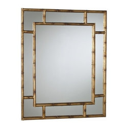 Arteriors - Arteriors Porter Bamboo Iron Mirror - Rectangular iron wall mirror in dark burnished gold leaf finish features textured bamboo pattern for frame and geometric overlay to create a divided glass effect.