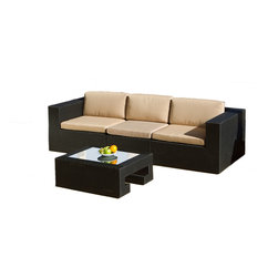 Great Deal Furniture - Oasis 4-Piece Outdoor Wicker Sofa Seating Set - Outdoor entertaining just got a lot more chic, with this modern four piece sofa set. Lounge in style on the sectional sofa, which can be configured to your liking. The glass-topped table provides ample space for your serveware, and all four pieces are crafted from durable, all-weather wicker with a sturdy aluminum frame.