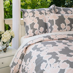 Crane & Canopy - Ashbury Pink Sham - Euro - Inspired by the Haight Ashbury region of San Francisco, the Ashbury Duvet is punctuated with retro innocence and modern practicality. Its whimsical bouquets add dimension to a cool urban gray backdrop, giving off an understated romantic elegance.