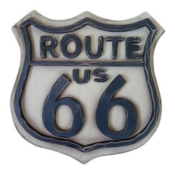Solid Wood Route 66 Wall Sign - *** FREE SHIPPING !!! ***