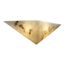 """Justice Design Group - Justice Design Group FAL-5140 Alabaster Stone / Glass Wall Washer Sconce - LumenAria Collection ADA Triangle Wall SconceFeatures the look of genuine carved alabaster without the costExtends: 4"""", 2.5"""" mounting centerUL listed for indoors (suitable for damp locations)ADA ApprovedLamping Options:Standard: 2 40w Max Torpedo Type BA-9Bulbs Not Included"""